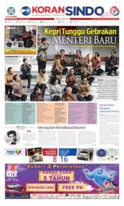 Cover KORAN SINDO BATAM 24 Oktober 2019