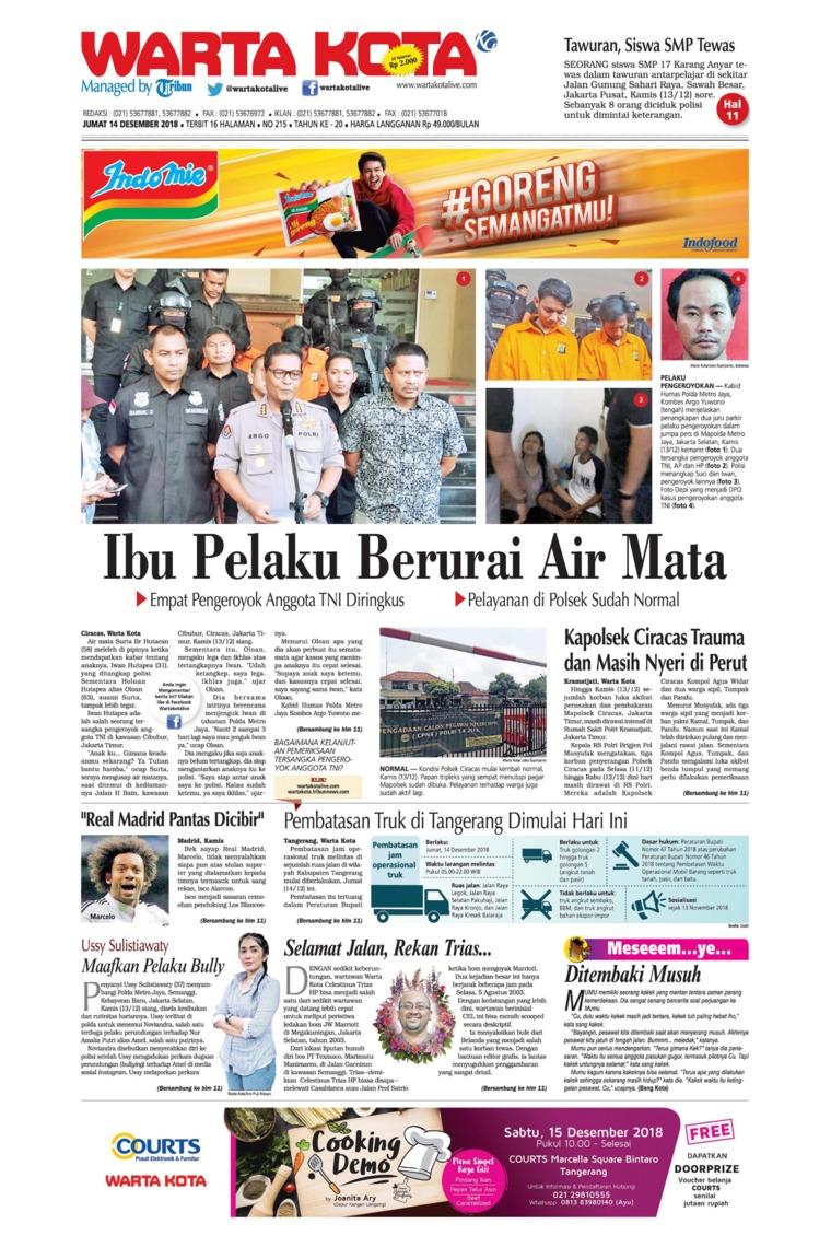 Koran Digital WARTA KOTA 14 Desember 2018