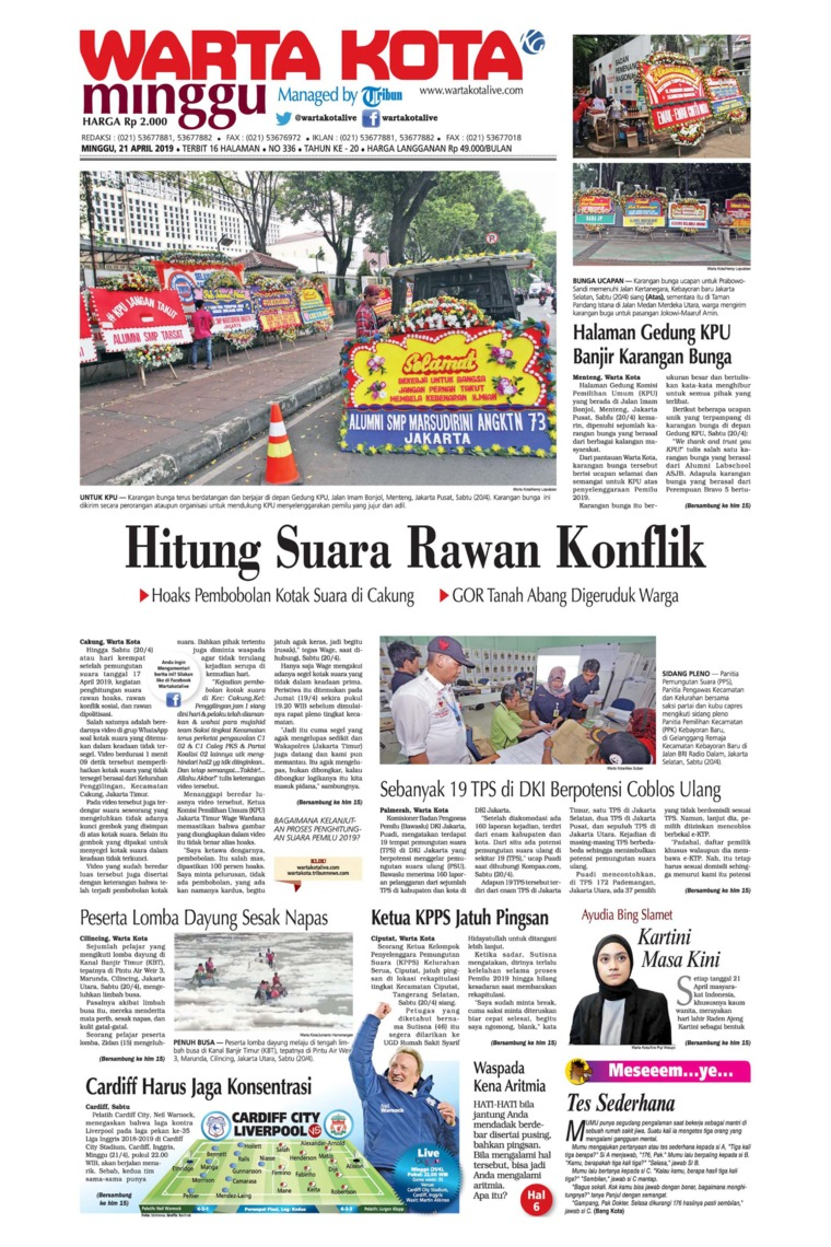 WARTA KOTA Digital Newspaper 21 April 2019