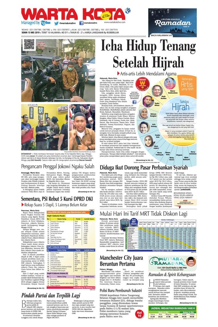 Koran Digital WARTA KOTA 13 Mei 2019