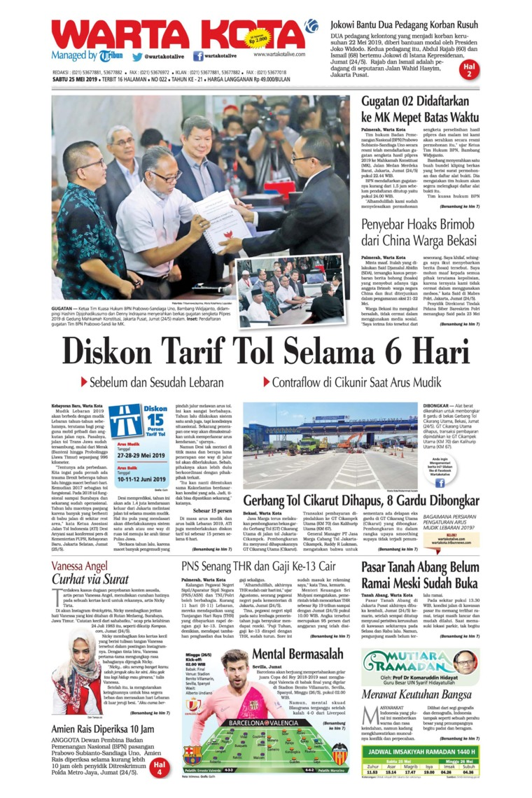 WARTA KOTA Digital Newspaper 25 May 2019