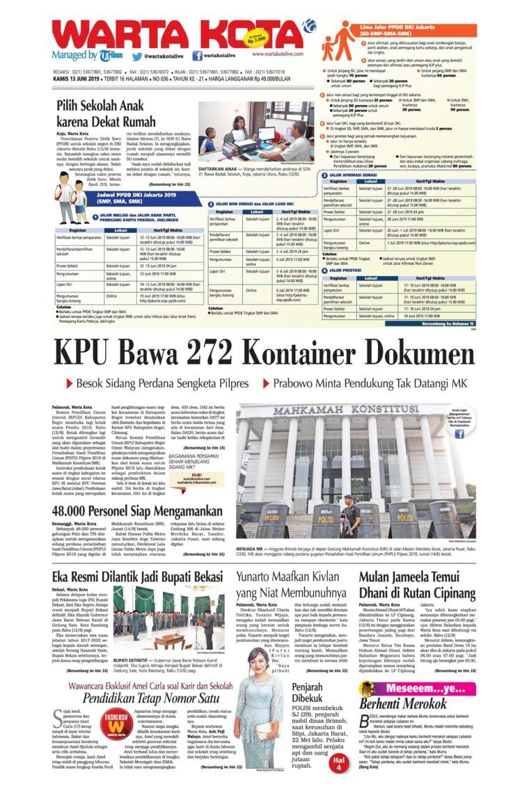 Koran Digital WARTA KOTA 13 Juni 2019