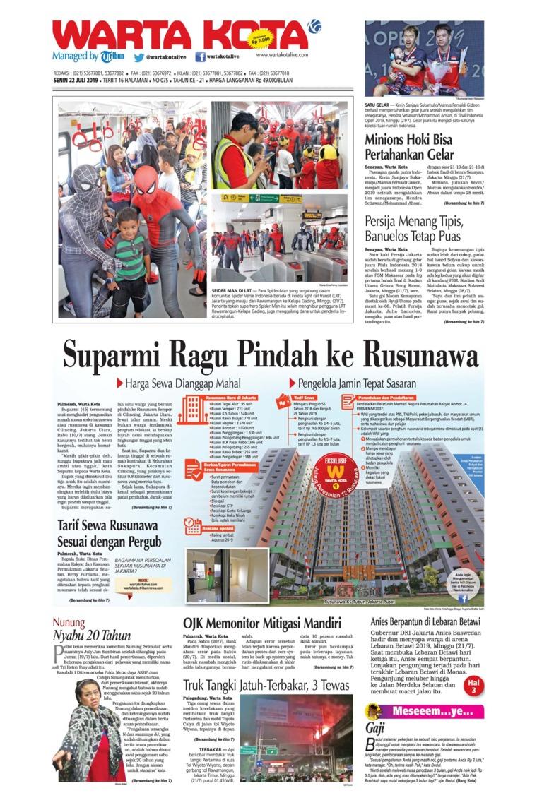 WARTA KOTA Digital Newspaper 22 July 2019