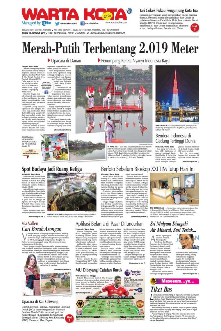 WARTA KOTA Digital Newspaper 19 August 2019