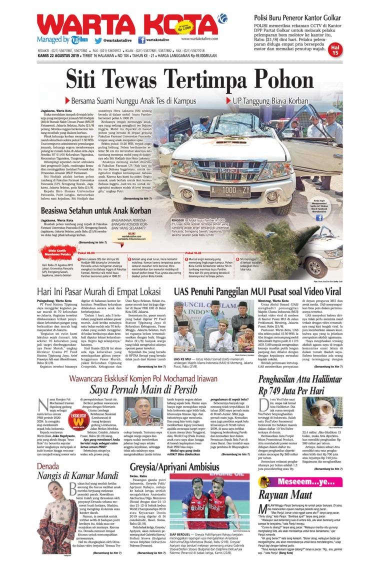 WARTA KOTA Digital Newspaper 22 August 2019