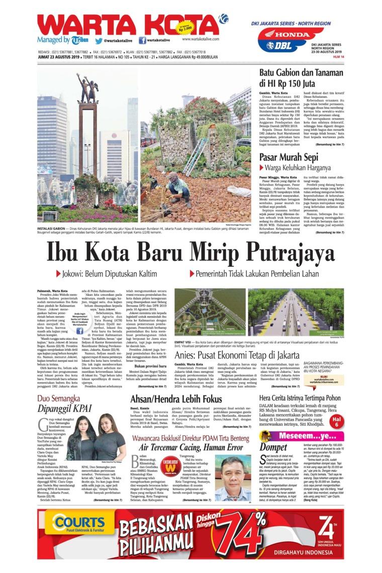 WARTA KOTA Digital Newspaper 23 August 2019