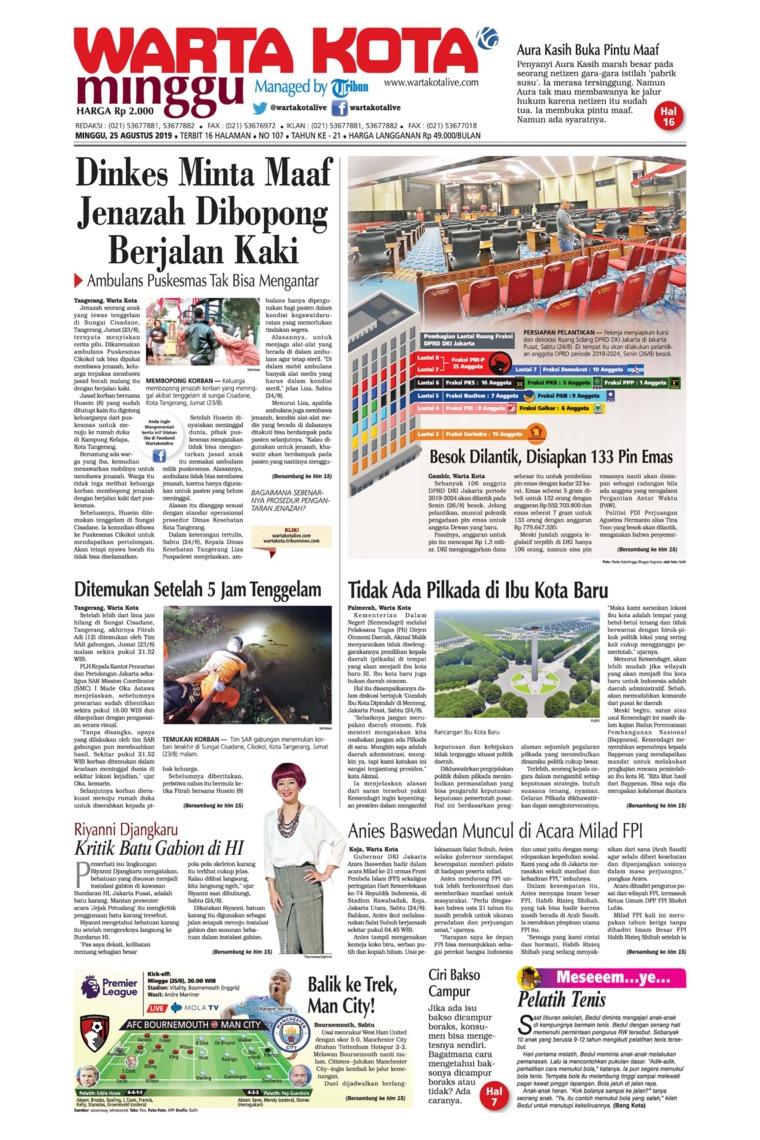 WARTA KOTA Digital Newspaper 25 August 2019