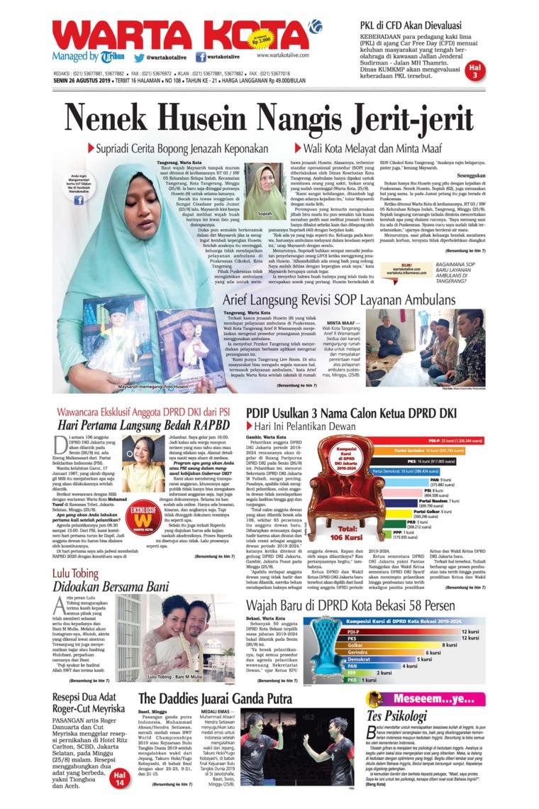 Koran Digital WARTA KOTA 26 Agustus 2019