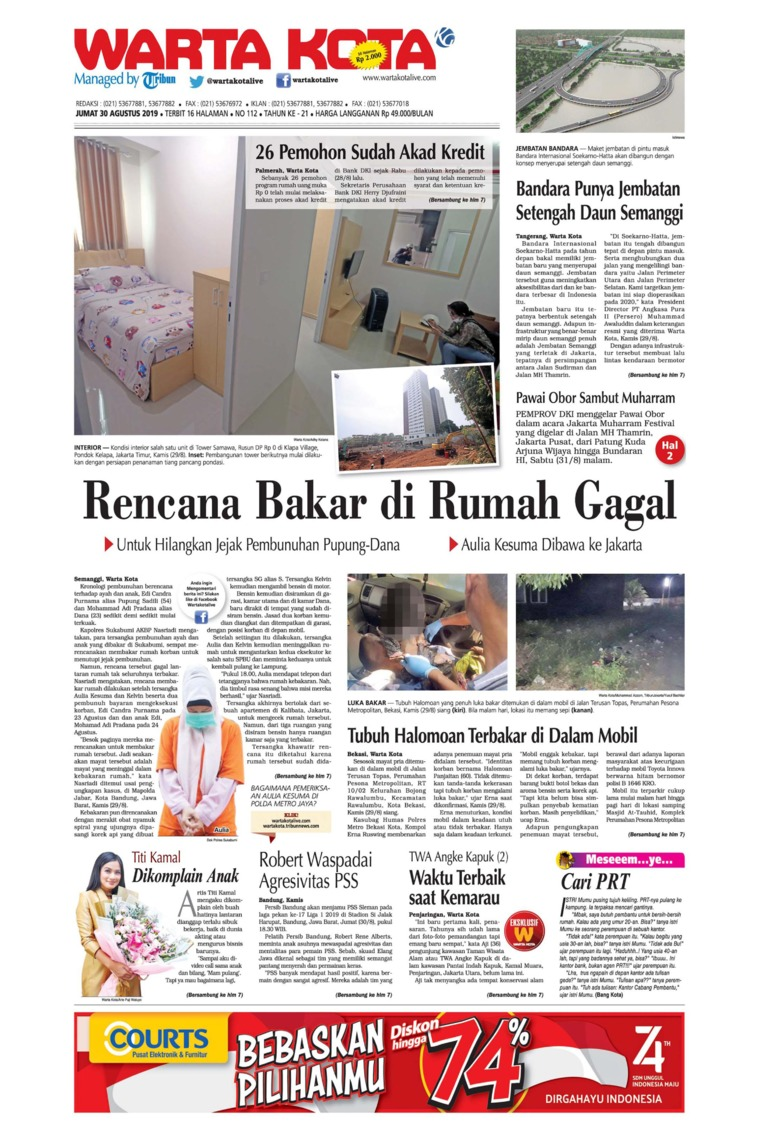 WARTA KOTA Digital Newspaper 30 August 2019