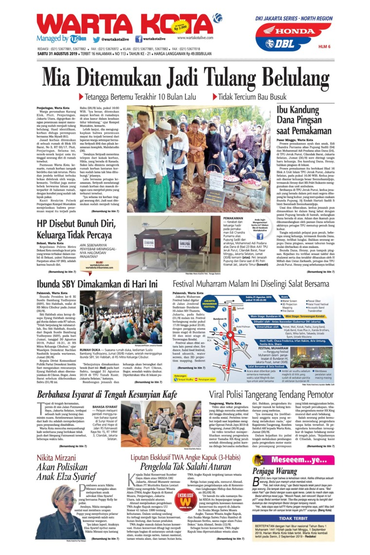 WARTA KOTA Digital Newspaper 31 August 2019