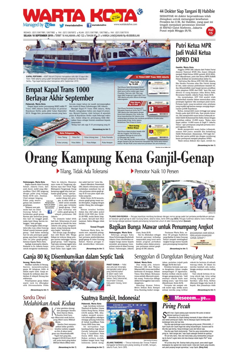 WARTA KOTA Digital Newspaper 10 September 2019