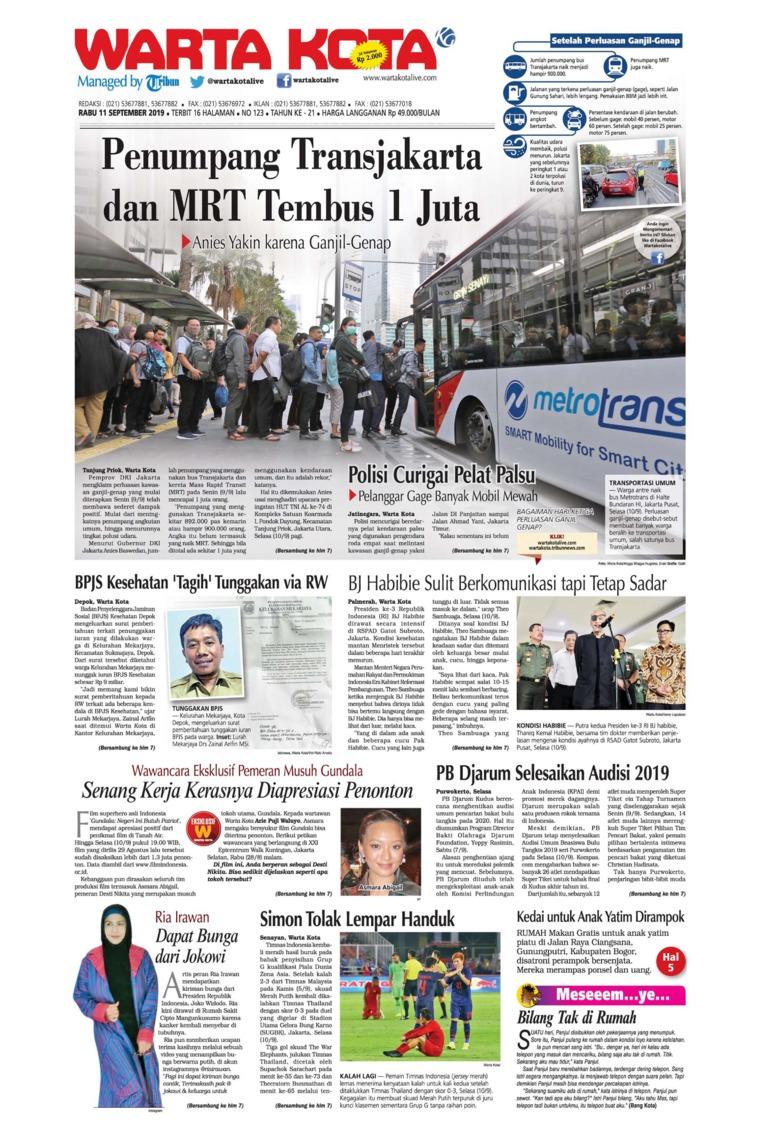 WARTA KOTA Digital Newspaper 11 September 2019