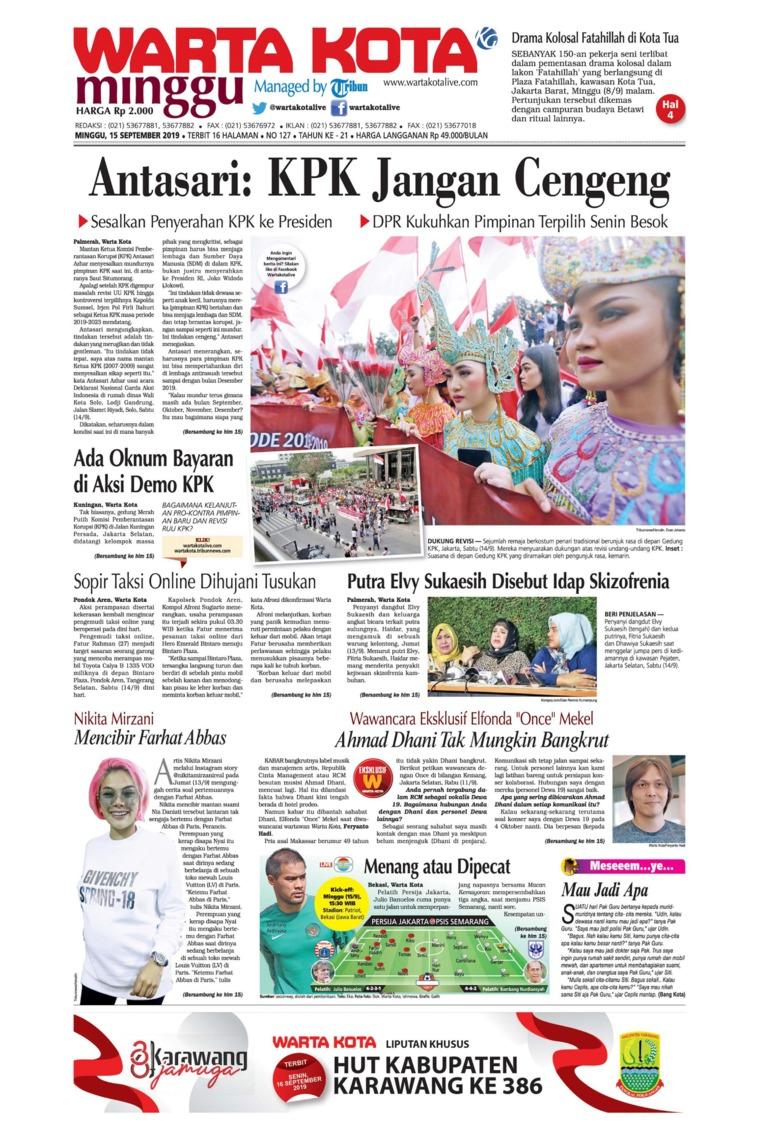 WARTA KOTA Digital Newspaper 15 September 2019