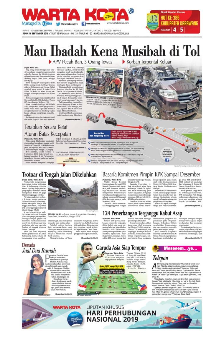 WARTA KOTA Digital Newspaper 16 September 2019