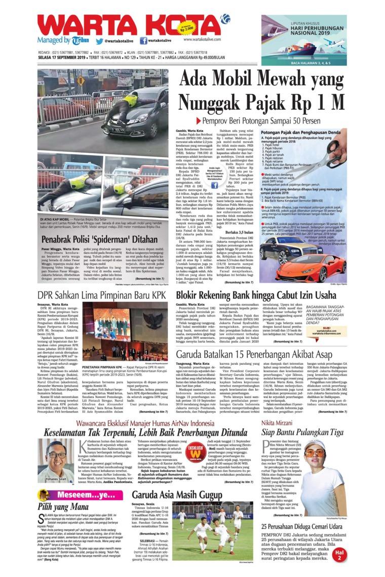 WARTA KOTA Digital Newspaper 17 September 2019