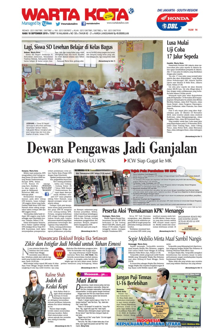 WARTA KOTA Digital Newspaper 18 September 2019