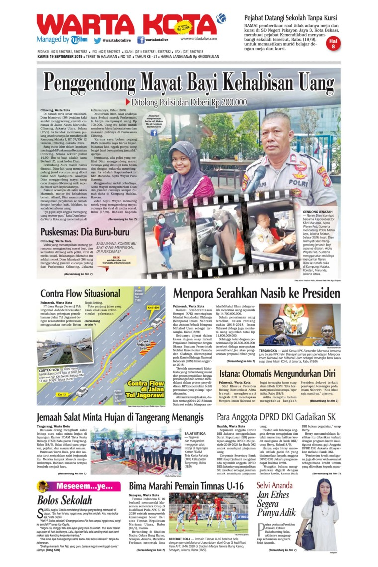 WARTA KOTA Digital Newspaper 19 September 2019