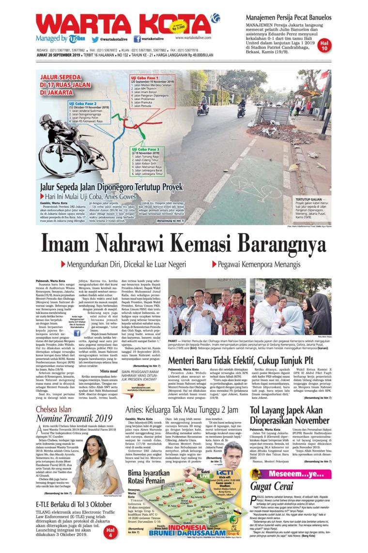 WARTA KOTA Digital Newspaper 20 September 2019
