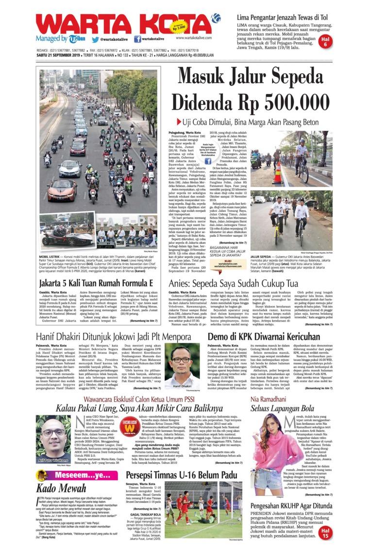 WARTA KOTA Digital Newspaper 21 September 2019