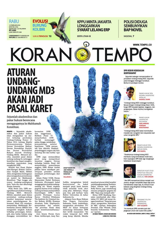 Koran Digital Koran TEMPO 14 Februari 2018
