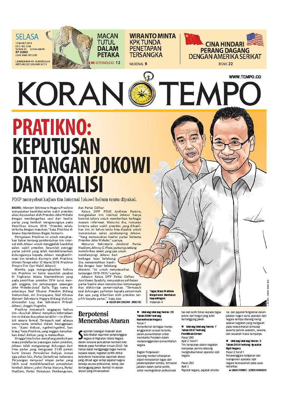 Koran Digital Koran TEMPO 13 Maret 2018