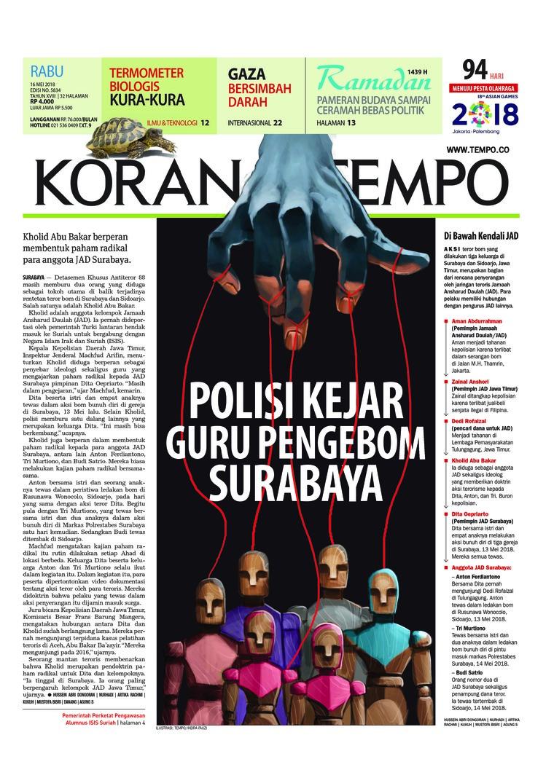 Koran Digital Koran TEMPO 16 Mei 2018