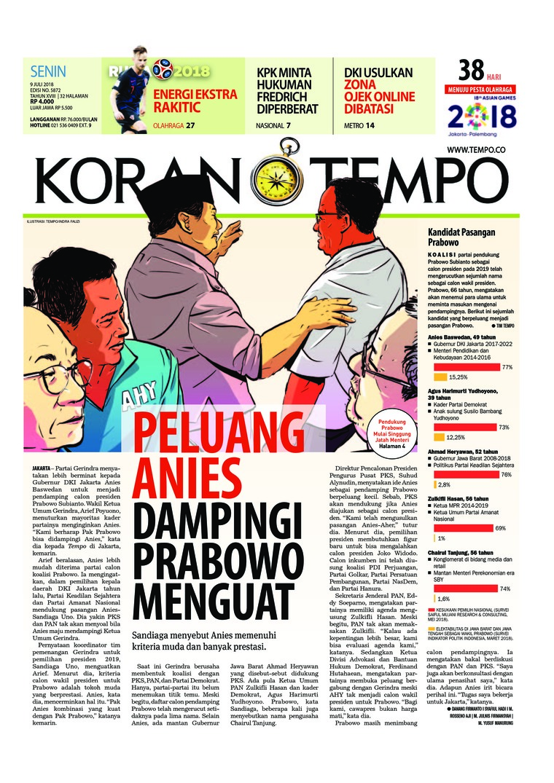 Koran Digital Koran TEMPO 09 Juli 2018