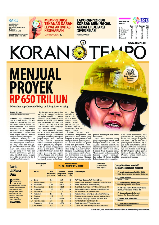 Koran Digital Koran TEMPO 10 Oktober 2018