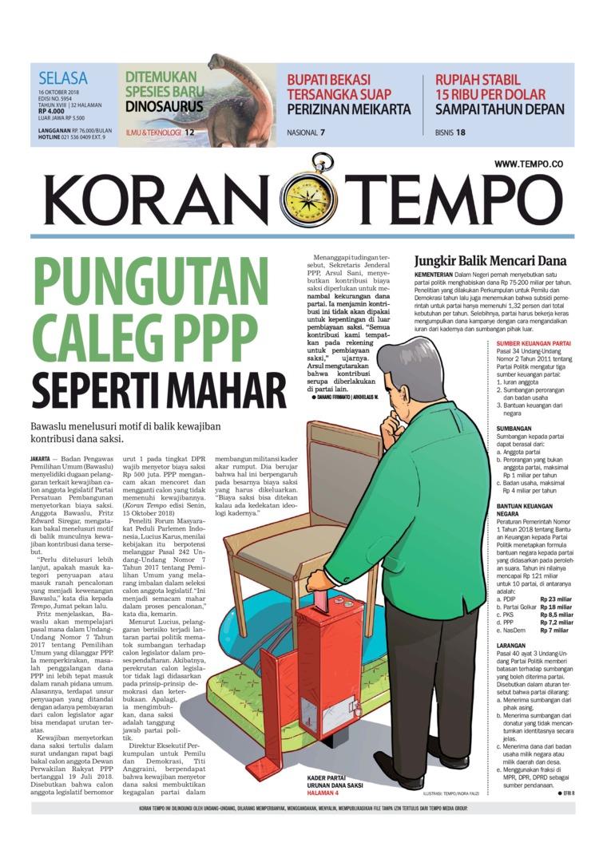 Koran Digital Koran TEMPO 16 Oktober 2018