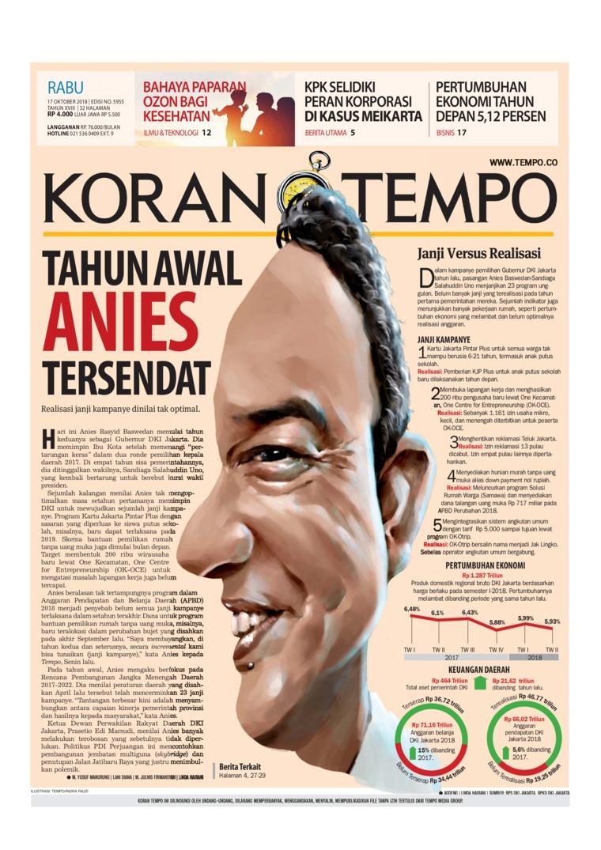 Koran Digital Koran TEMPO 17 Oktober 2018