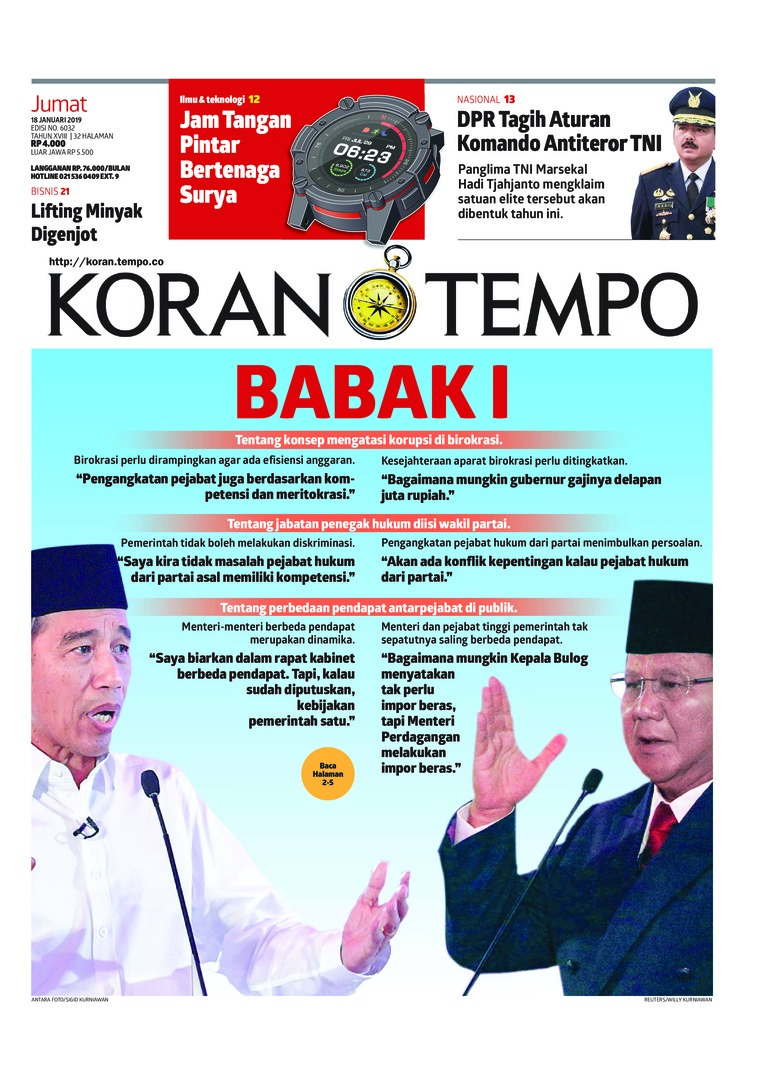 Koran Digital Koran TEMPO 18 Januari 2019