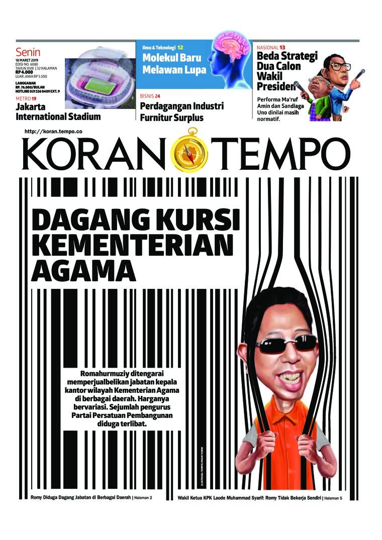 Koran Digital Koran TEMPO 18 Maret 2019