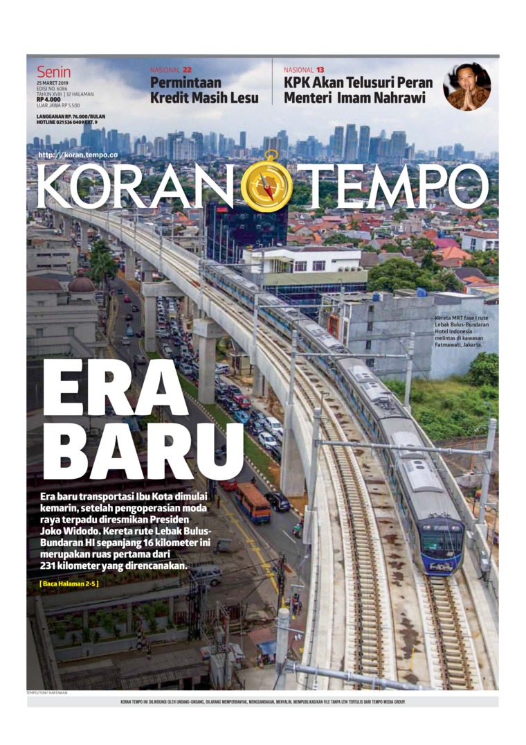 Koran TEMPO Digital Newspaper 25 March 2019
