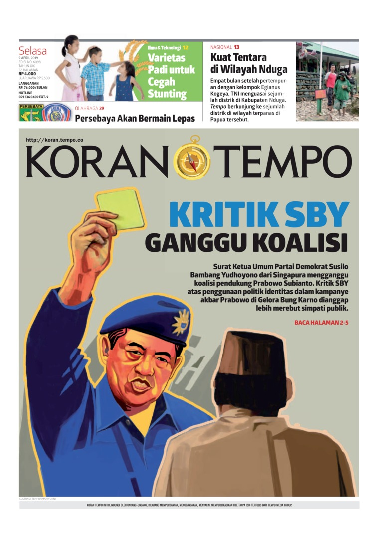 Koran TEMPO Digital Newspaper 09 April 2019