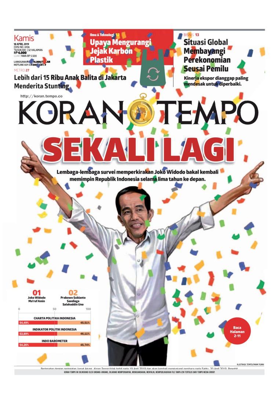 Koran TEMPO Digital Newspaper 18 April 2019