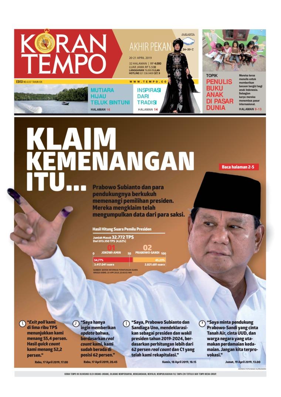 Koran Digital Koran TEMPO 20 April 2019