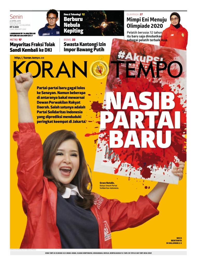 Koran Digital Koran TEMPO 22 April 2019