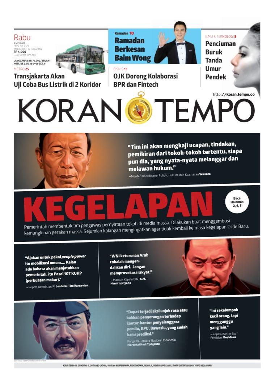 Koran TEMPO Digital Newspaper 08 May 2019