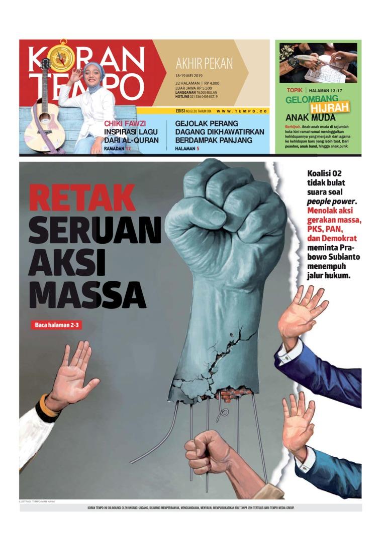 Koran TEMPO Digital Newspaper 18 May 2019