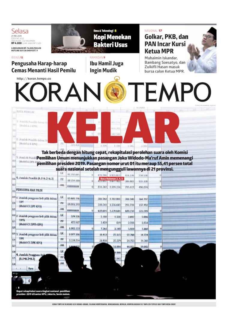 Koran TEMPO Digital Newspaper 21 May 2019