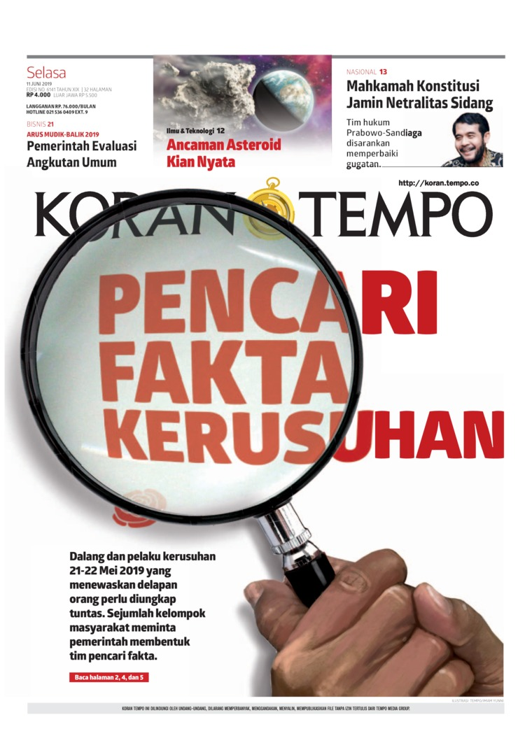 Koran TEMPO Digital Newspaper 11 June 2019
