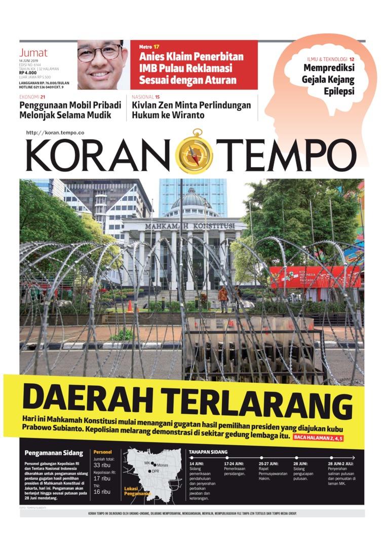 Koran TEMPO Digital Newspaper 14 June 2019