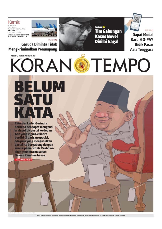 Koran TEMPO Digital Newspaper 18 July 2019