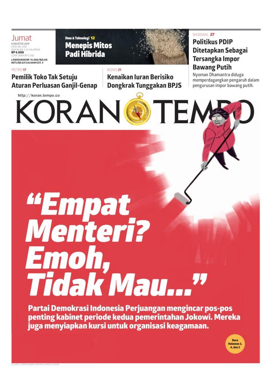 Koran TEMPO Digital Newspaper 09 August 2019