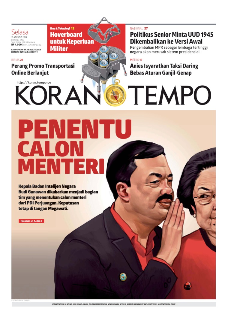 Koran TEMPO Digital Newspaper 13 August 2019