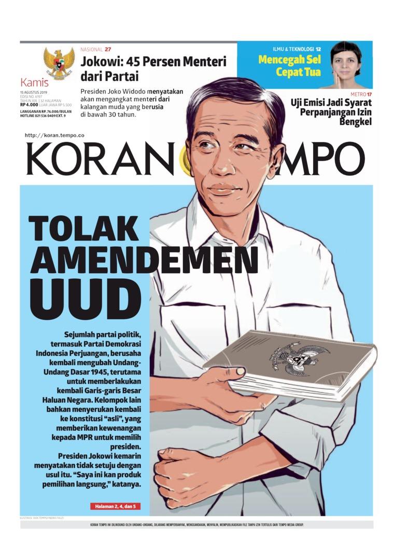 Koran TEMPO Digital Newspaper 15 August 2019