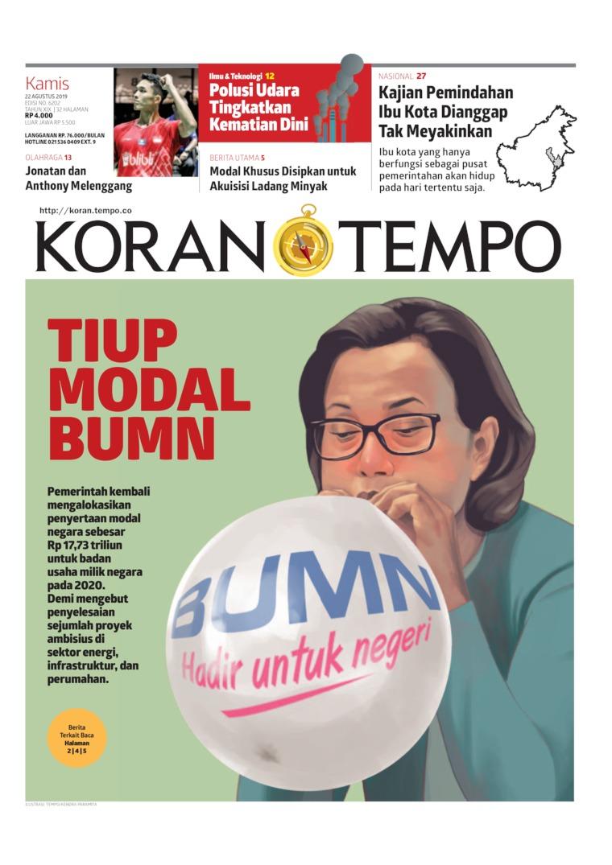 Koran TEMPO Digital Newspaper 22 August 2019