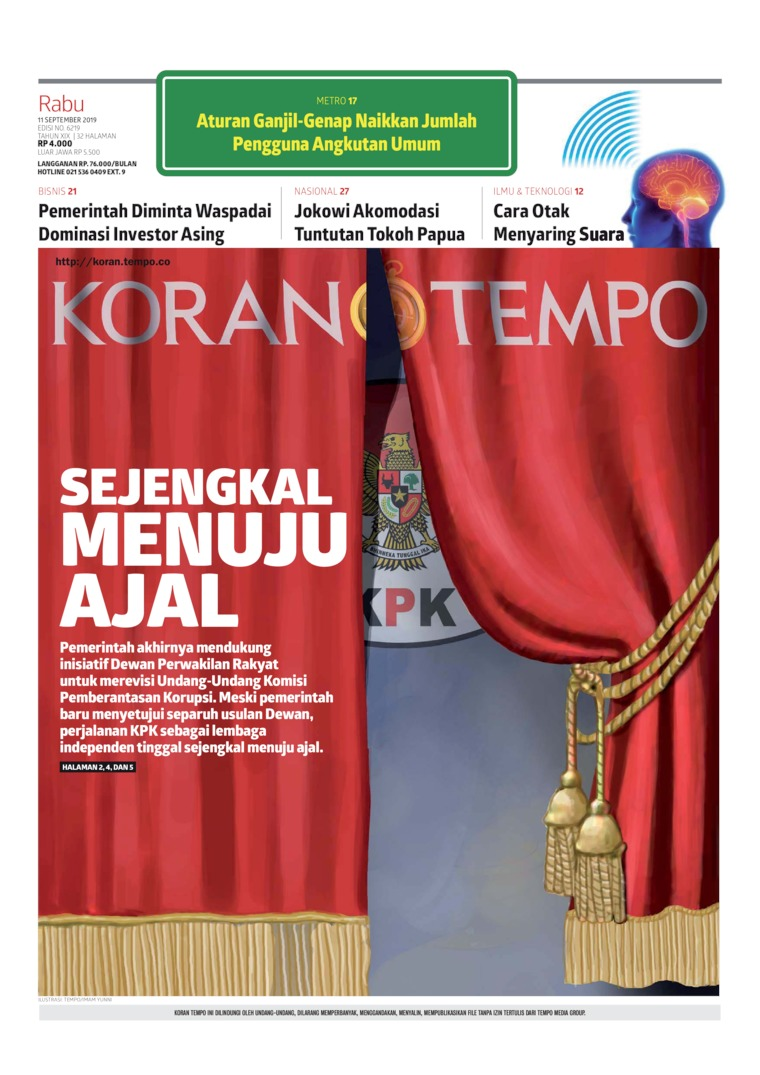 Koran Digital Koran TEMPO 11 September 2019