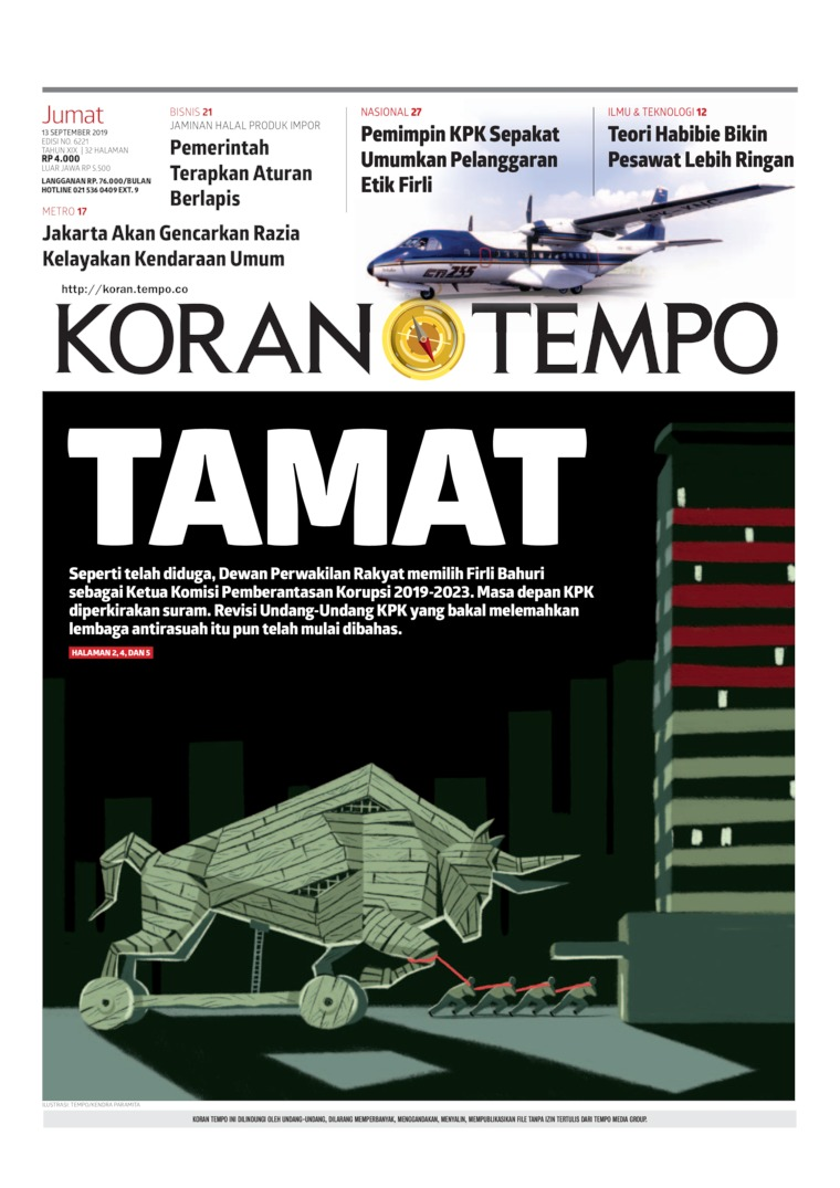 Koran Digital Koran TEMPO 13 September 2019