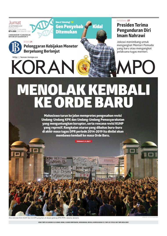 Koran TEMPO Digital Newspaper 20 September 2019